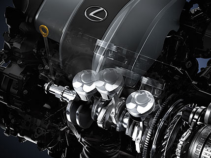 Illustration of the Lexus RX engine.