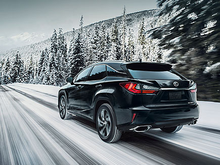 Exterior shot of the 2019 Lexus RX shown in Obsidian