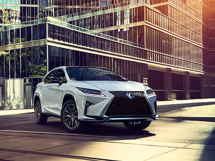 Exterior shot of the 2019 Lexus RX F Sport shown in Ultra White