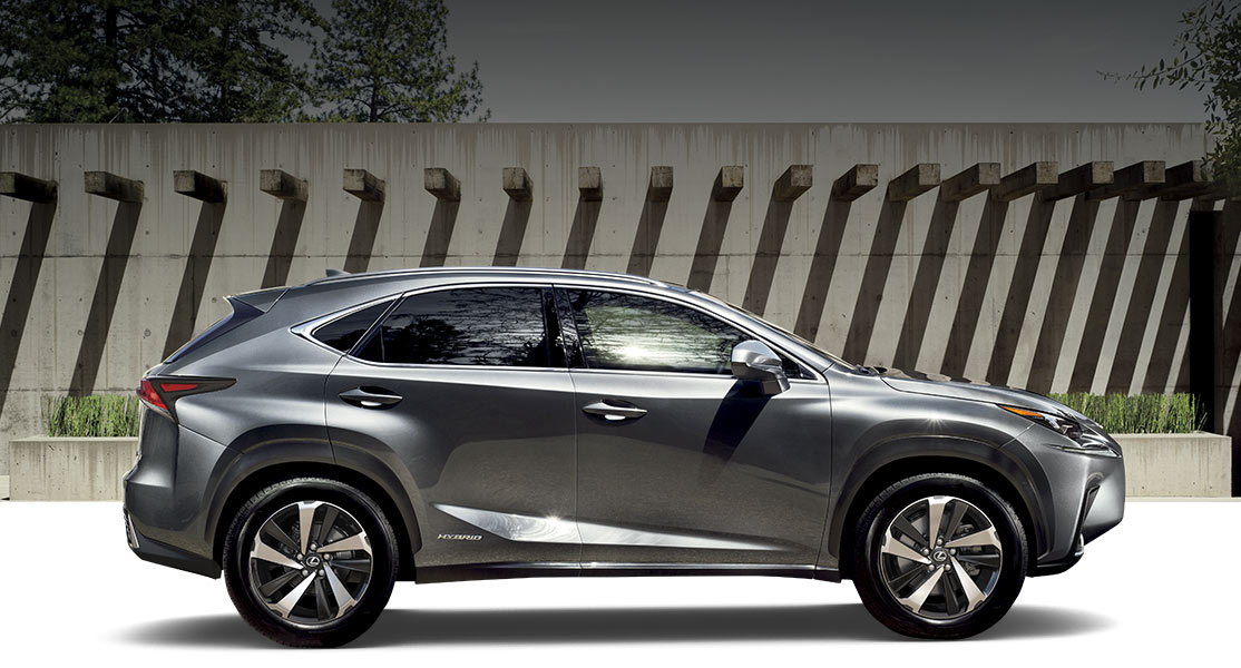 Lexus NX 300h shown in Nebula Gray Pearl.