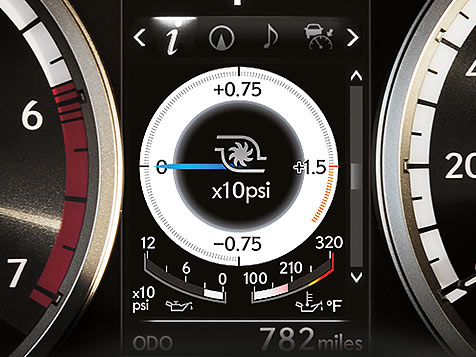 Detail shot of the multi-information display in the Lexus NX.