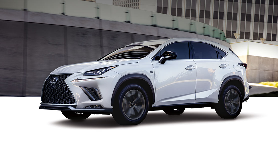 Exterior shot of the 2019 Lexus NX 300 F SPORT shown in Ultra White