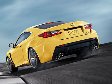 Exterior shot of the 2018 Lexus RC F shown in Flare Yellow.