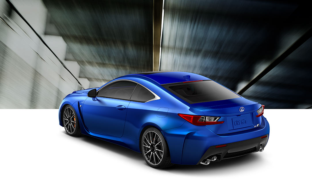 Exterior shot of the 2017 Lexus RC F shown in Ultrasonic Blue Mica 2.0.