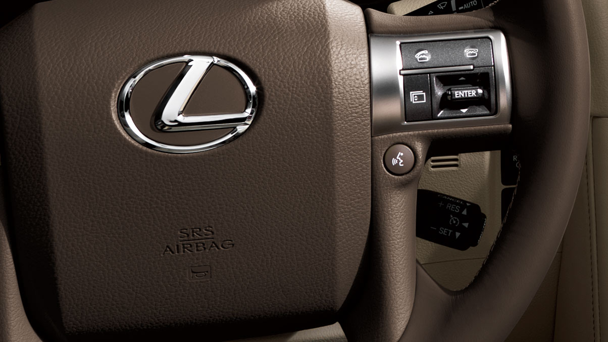 Interior shot of 2018 Lexus GX steering wheel controls.