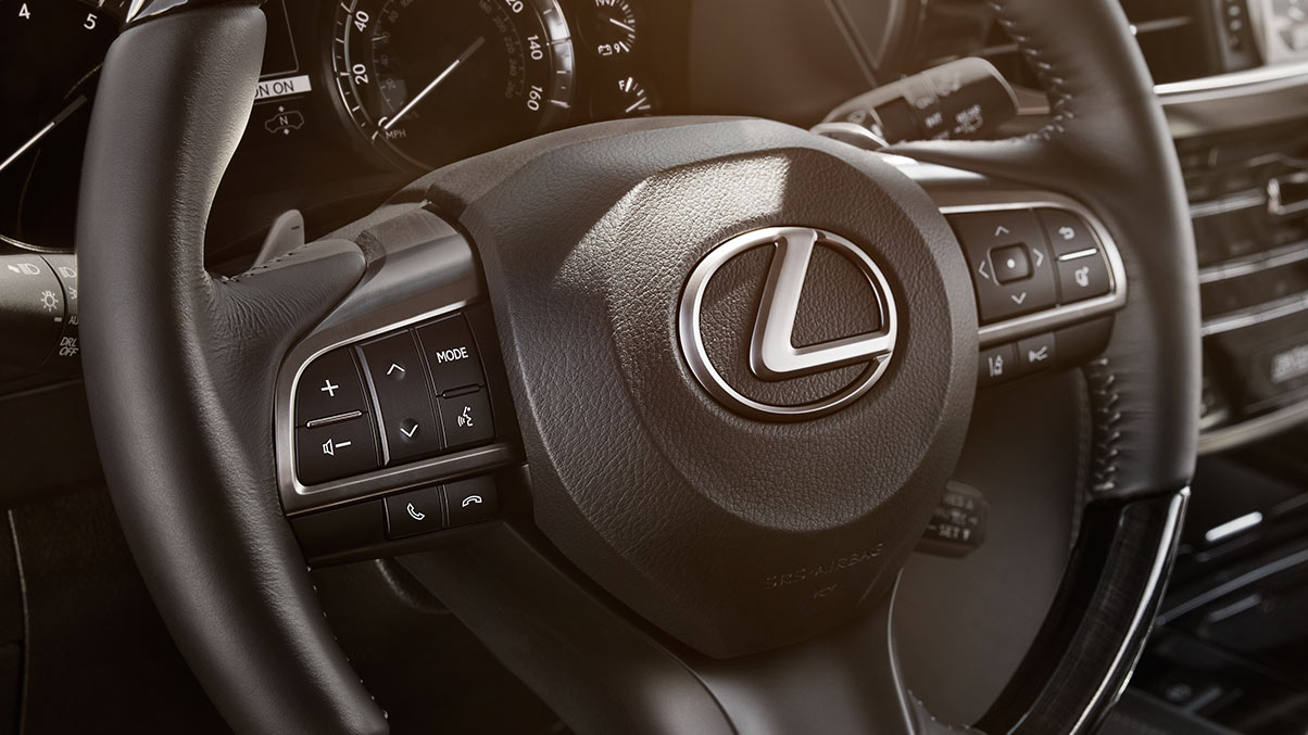 Interior shot of the 2018 Lexus LX steering wheel.