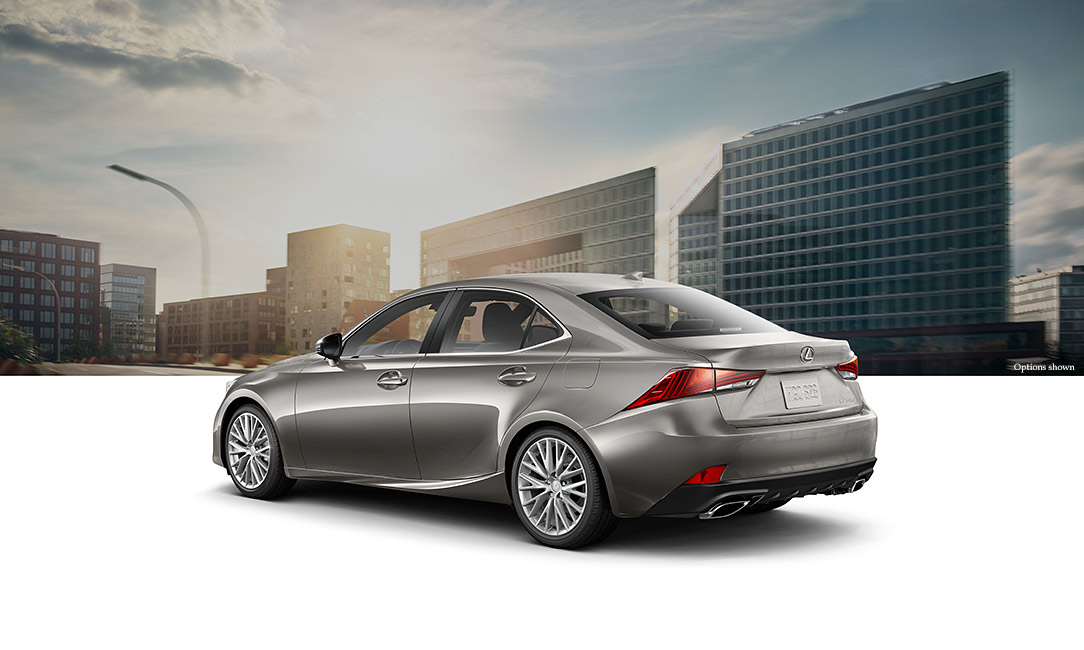 Exterior shot of the 2017 Lexus IS shown in Atomic Silver.