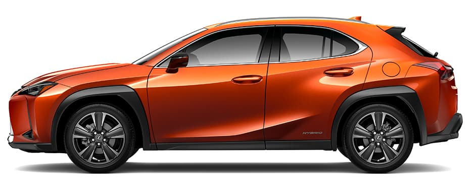 Lexus UX Hybrid shown in Cadmium Orange.