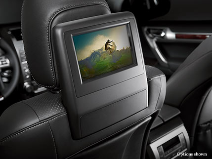 Interior shot of the 2017 Lexus GX rear entertainment screen.