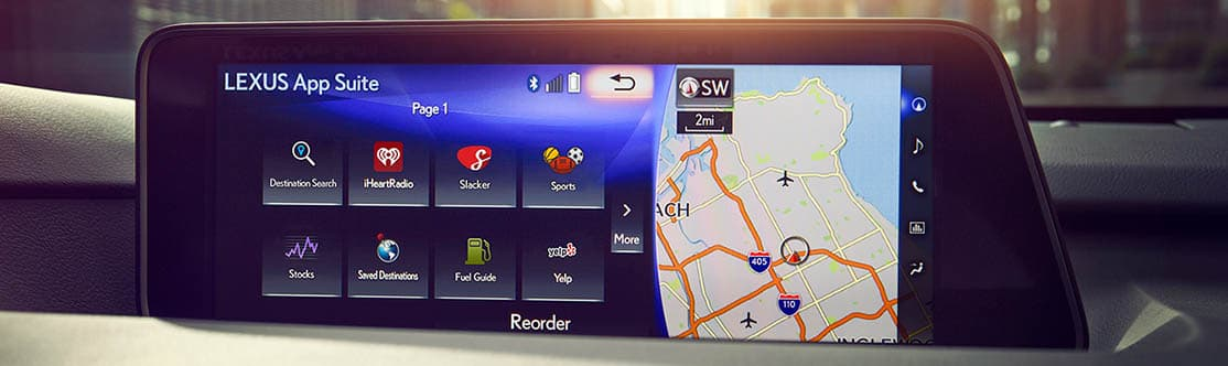 "LEXUS ENFORM APP SUITE<span class='tooltip-trigger disclaimer' data-disclaimers='[{""code"":""ENFORM10"",""isTerms"":false,""body"":""Be sure to obey traffic regulations and maintain awareness of road and traffic conditions at all times. Apps/services vary by phone/carrier; functionality depends on many factors. Select apps use large amounts of data; you are responsible for charges. Apps and services subject to change at any time without notice. See lexus.com/enform for details.""}]'><span class='asterisk'>*</span></span>"