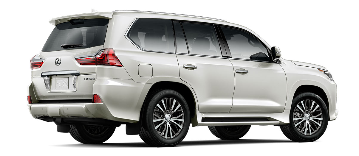 2017 lx 570 in Starfire Pearl with '20-in five-spoke alloy wheels<span class='tooltip-trigger disclaimer' data-disclaimers='[{\'code\':\'TIREWEAR11\',\'isTerms\':false,\'body\':\'20- or 21-in performance tires are expected to experience greater tire wear than conventional tires. Tire life may be substantially less than 20,000 miles, depending upon tire used and driving conditions.\'}]'><span class='asterisk'>*</span></span> (Standard)' angle3