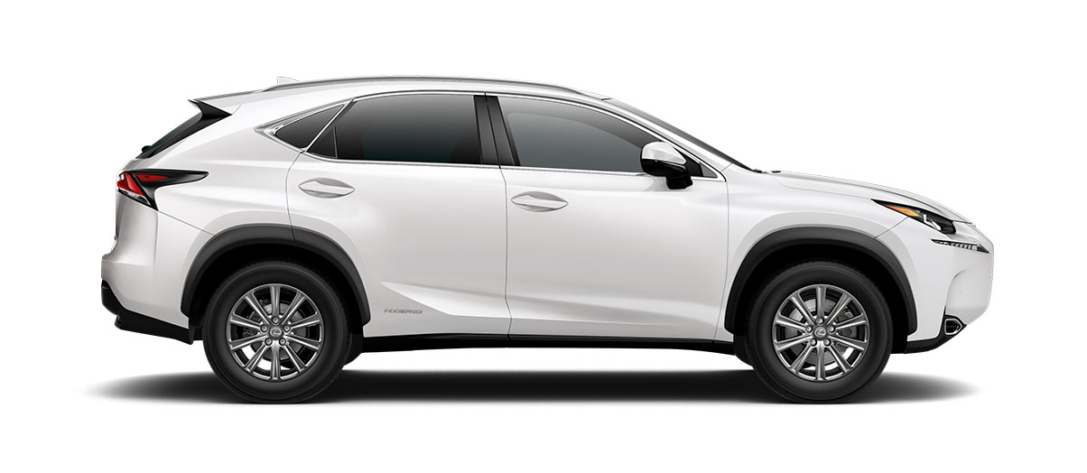 2017 nx 300h in Eminent White Pearl with '17-in 10-spoke alloy wheels<span class='tooltip-trigger disclaimer' data-disclaimers='[{\'code\':\'TIREWEAR1\',\'isTerms\':false,\'body\':\'17-in performance tires are expected to experience greater tire wear than conventional tires.  Tire life may be substantially less than 20,000 miles, depending upon driving conditions.\'}]'><span class='asterisk'>*</span></span>' angle3