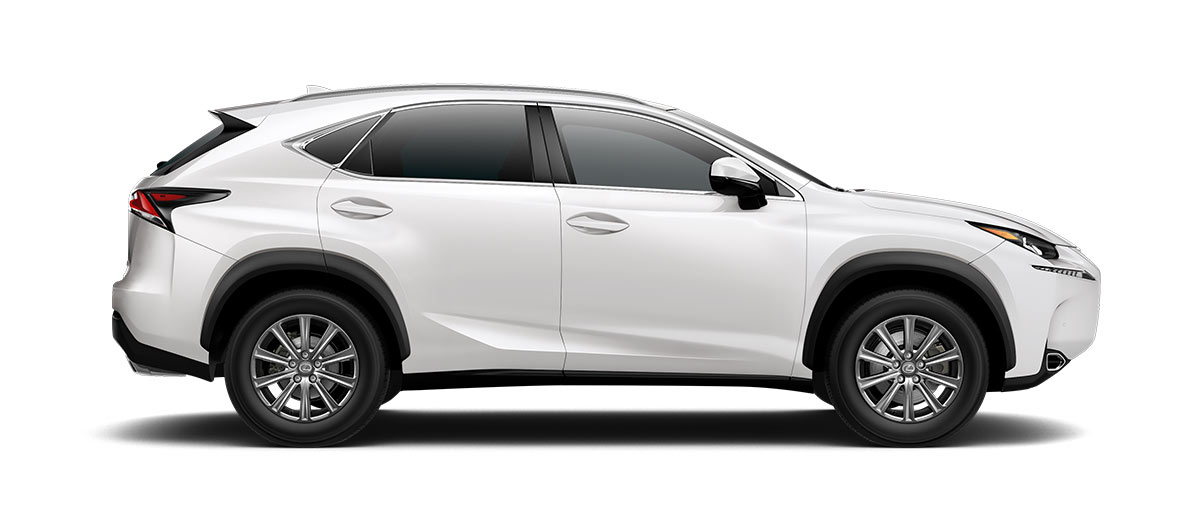 2017 nx TURBO in Eminent White Pearl with '17-in 10-spoke alloy wheels<span class='tooltip-trigger disclaimer' data-disclaimers='[{\'code\':\'TIREWEAR1\',\'isTerms\':false,\'body\':\'17-in performance tires are expected to experience greater tire wear than conventional tires. Tire life may be substantially less than 20,000 miles, depending upon driving conditions.\'}]'><span class='asterisk'>*</span></span>' angle3