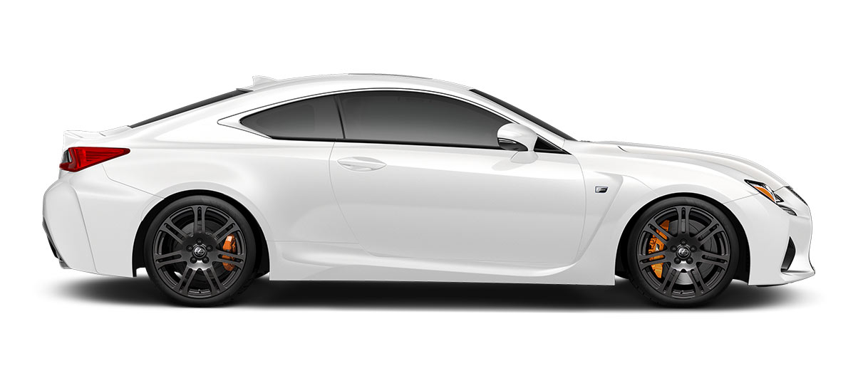 2017 rcf   in Ultra White with '19-in split-seven-spoke forged alloy wheels<span class='tooltip-trigger disclaimer' data-disclaimers='[{\'code\':\'TIREWEAR5\',\'isTerms\':false,\'body\':\'19-in performance tires are expected to experience greater tire wear than conventional tires.  Tire life may be substantially less than 15,000 miles, depending upon driving conditions.\'}]'><span class='asterisk'>*</span></span>' angle4