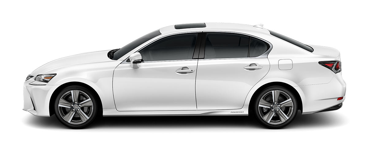 2018 gs 450h in Eminent White Pearl with '18-inch five-spoke alloy wheels<span class='tooltip-trigger disclaimer' data-disclaimers='[{\'code\':\'TIREWEAR2\',\'isTerms\':false,\'body\':\'18-in performance tires are expected to experience greater tire wear than conventional tires. Tire life may be substantially less than 15,000 miles, depending upon driving conditions.\'}]'><span class='asterisk'>*</span></span>' angle2