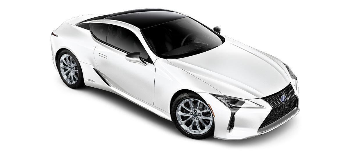 2018 lc 500h in Ultra White with '20-inch 10-spoke forged alloy wheels with polished finish<span class='tooltip-trigger disclaimer' data-disclaimers='[{\'code\':\'TIREWEAR4\',\'isTerms\':false,\'body\':\'20-in performance tires are expected to experience greater tire wear than conventional tires.  Tire life may be substantially less than 20,000 miles, depending upon driving conditions.\'}]'><span class='asterisk'>*</span></span>' angle3