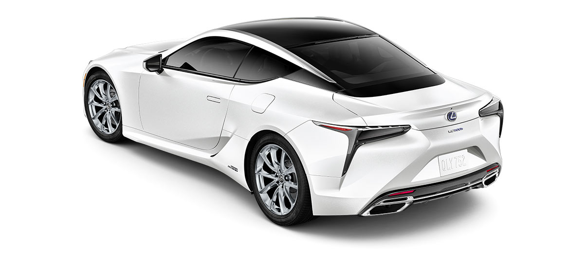 2018 lc 500h in Ultra White with '20-inch 10-spoke forged alloy wheels with polished finish<span class='tooltip-trigger disclaimer' data-disclaimers='[{\'code\':\'TIREWEAR4\',\'isTerms\':false,\'body\':\'20-in performance tires are expected to experience greater tire wear than conventional tires.  Tire life may be substantially less than 20,000 miles, depending upon driving conditions.\'}]'><span class='asterisk'>*</span></span>' angle4