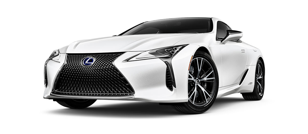 2018 lc 500h in Ultra White with '20-inch split-10-spoke cast alloy Dark Silver with machined finish' angle1