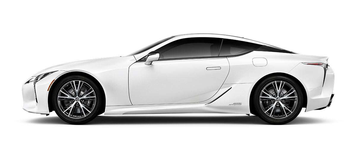 2018 lc 500h in Ultra White with '20-inch split-10-spoke cast alloy Dark Silver with machined finish' angle2