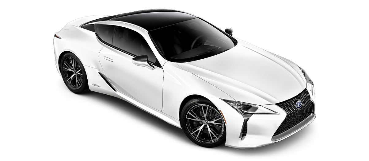 2018 lc 500h in Ultra White with '20-inch split-10-spoke cast alloy Dark Silver with machined finish' angle3