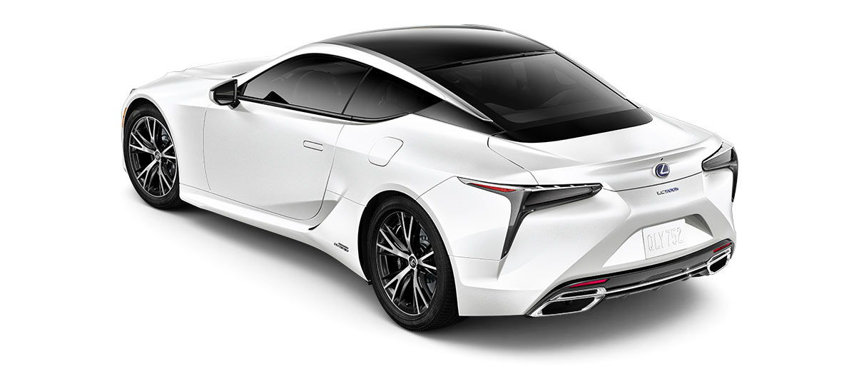 2018 lc 500h in Ultra White with '20-inch split-10-spoke cast alloy Dark Silver with machined finish' angle4