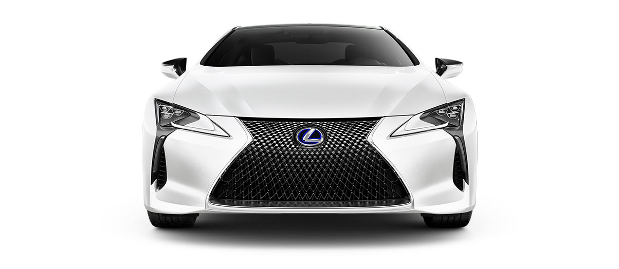 2018 lc 500h in Ultra White with '20-inch split-10-spoke cast alloy Dark Silver with machined finish' angle5
