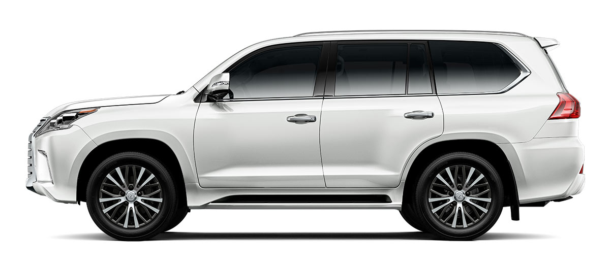 2018 lx 570 in Eminent White Pearl with '20-in five-spoke alloy wheels<span class='tooltip-trigger disclaimer' data-disclaimers='[{\'code\':\'TIREWEAR11\',\'isTerms\':false,\'body\':\'20- or 21-in performance tires are expected to experience greater tire wear than conventional tires. Tire life may be substantially less than 15,000 miles, depending upon tire used and driving conditions.\'}]'><span class='asterisk'>*</span></span> (Standard)' angle1