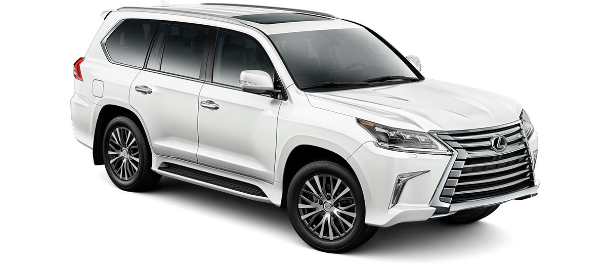 2018 lx 570 in Eminent White Pearl with '20-in five-spoke alloy wheels<span class='tooltip-trigger disclaimer' data-disclaimers='[{\'code\':\'TIREWEAR11\',\'isTerms\':false,\'body\':\'20- or 21-in performance tires are expected to experience greater tire wear than conventional tires. Tire life may be substantially less than 15,000 miles, depending upon tire used and driving conditions.\'}]'><span class='asterisk'>*</span></span> (Standard)' angle2