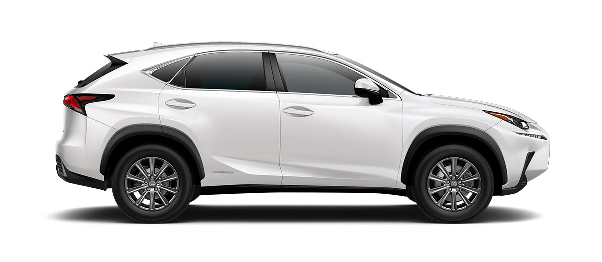2018 nx 300h in Eminent White Pearl with '17-in 10-spoke alloy wheels<span class='tooltip-trigger disclaimer' data-disclaimers='[{\'code\':\'TIREWEAR1\',\'isTerms\':false,\'body\':\'17-in performance tires are expected to experience greater tire wear than conventional tires. Tire life may be substantially less than 15,000 miles, depending upon driving conditions.\'}]'><span class='asterisk'>*</span></span>' angle3