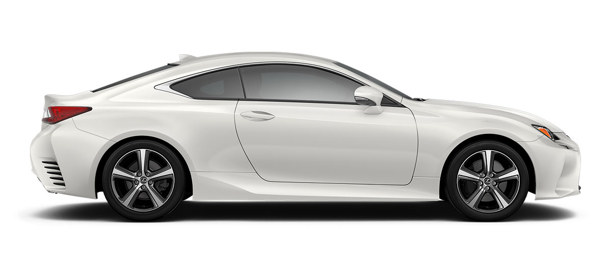 2018 rc 350 in Eminent White Pearl with '18-in five-spoke alloy wheels<span class='tooltip-trigger disclaimer' data-disclaimers='[{\'code\':\'TIREWEAR2\',\'isTerms\':false,\'body\':\'18-in performance tires are expected to experience greater tire wear than conventional tires. Tire life may be substantially less than 15,000 miles, depending upon driving conditions.\'}]'><span class='asterisk'>*</span></span> with Dark Gray and machined finish' angle4