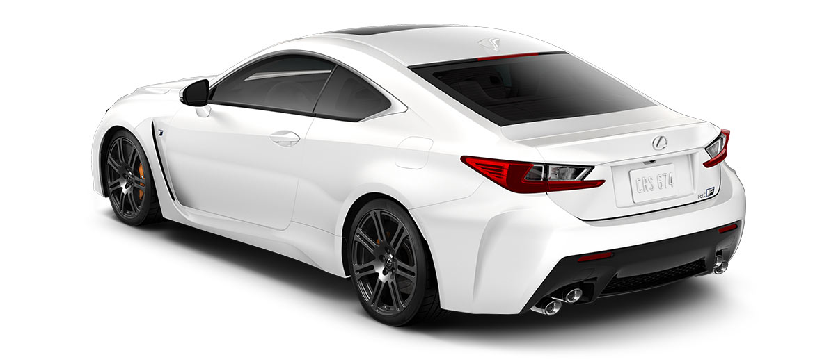 2018 rcf   in Ultra White with '19-in split-seven-spoke forged alloy wheels<span class='tooltip-trigger disclaimer' data-disclaimers='[{\'code\':\'TIREWEAR5\',\'isTerms\':false,\'body\':\'19-in performance tires are expected to experience greater tire wear than conventional tires. Tire life may be substantially less than 15,000 miles, depending upon driving conditions.\'}]'><span class='asterisk'>*</span></span>' angle2