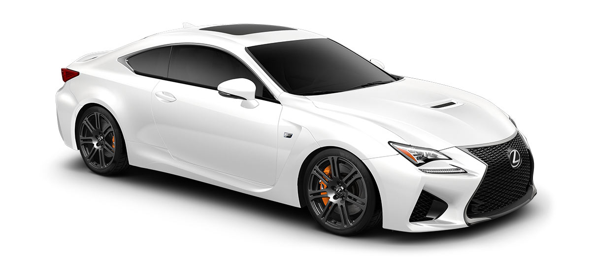 2018 rcf   in Ultra White with '19-in split-seven-spoke forged alloy wheels<span class='tooltip-trigger disclaimer' data-disclaimers='[{\'code\':\'TIREWEAR5\',\'isTerms\':false,\'body\':\'19-in performance tires are expected to experience greater tire wear than conventional tires. Tire life may be substantially less than 15,000 miles, depending upon driving conditions.\'}]'><span class='asterisk'>*</span></span>' angle4