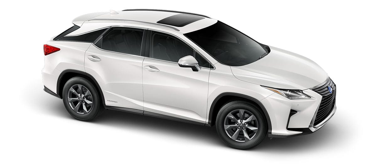 2018 rx 450h in Eminent White Pearl with '18-inch seven-spoke alloy wheels<span class='tooltip-trigger disclaimer' data-disclaimers='[{\'code\':\'TIREWEAR2\',\'isTerms\':false,\'body\':\'18-in performance tires are expected to experience greater tire wear than conventional tires. Tire life may be substantially less than 15,000 miles, depending upon driving conditions.\'}]'><span class='asterisk'>*</span></span>' angle3