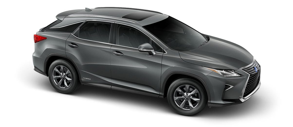 2018 rx 450h in Nebula Gray Pearl with '18-inch seven-spoke alloy wheels<span class='tooltip-trigger disclaimer' data-disclaimers='[{\'code\':\'TIREWEAR2\',\'isTerms\':false,\'body\':\'18-in performance tires are expected to experience greater tire wear than conventional tires. Tire life may be substantially less than 15,000 miles, depending upon driving conditions.\'}]'><span class='asterisk'>*</span></span>' angle3