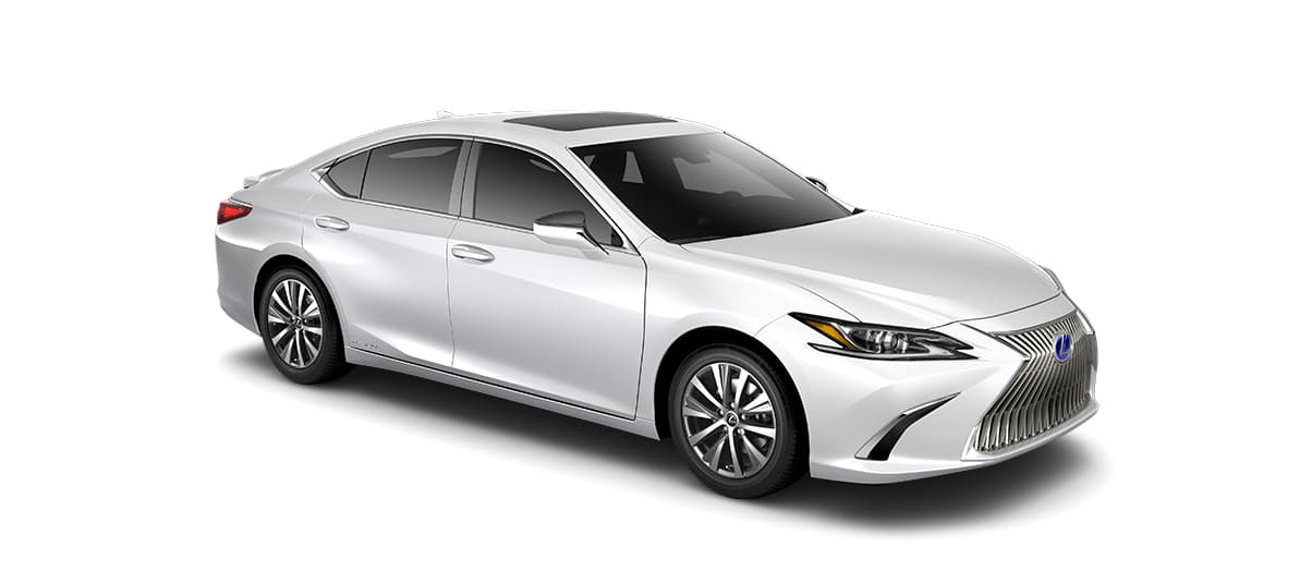 2019 es 300h in Eminent White Pearl with '17-in split-10-spoke alloy wheels<span class='tooltip-trigger disclaimer' data-disclaimers='[{\'code\':\'TIREWEAR1\',\'isTerms\':false,\'body\':\'17-in performance tires are expected to experience greater tire wear than conventional tires. Tire life may be substantially less than mileage expectancy or 15,000 miles, depending upon driving conditions.\'}]'><span class='asterisk'>*</span></span> with Dark Silver and machined finish' angle4