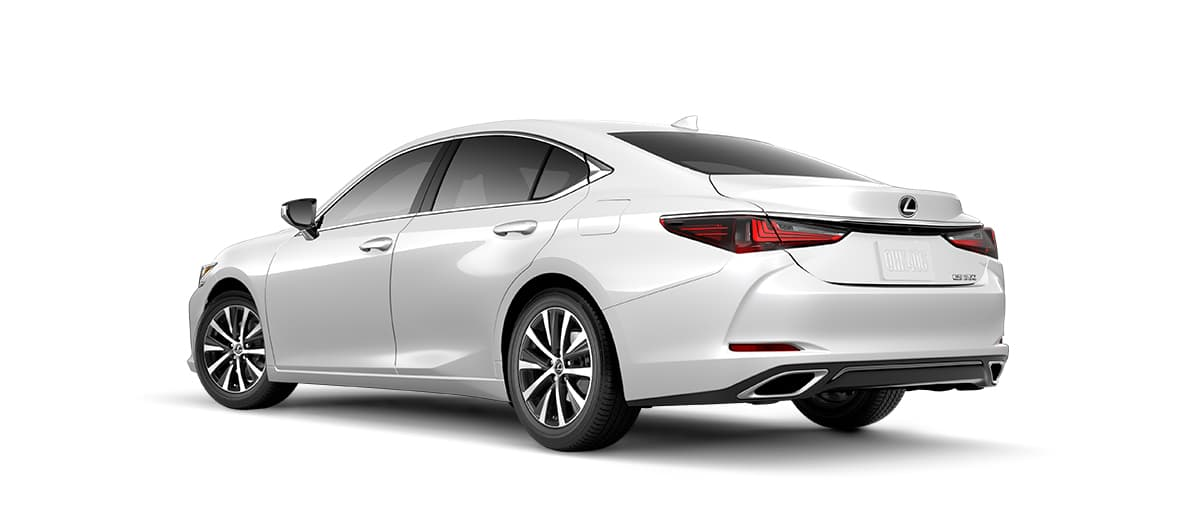 2019 es 350 in Eminent White Pearl with '17-in split-10-spoke alloy wheels<span class='tooltip-trigger disclaimer' data-disclaimers='[{\'code\':\'TIREWEAR1\',\'isTerms\':false,\'body\':\'17-in performance tires are expected to experience greater tire wear than conventional tires. Tire life may be substantially less than mileage expectancy or 15,000 miles, depending upon driving conditions.\'}]'><span class='asterisk'>*</span></span> with Dark Silver and machined finish' angle2