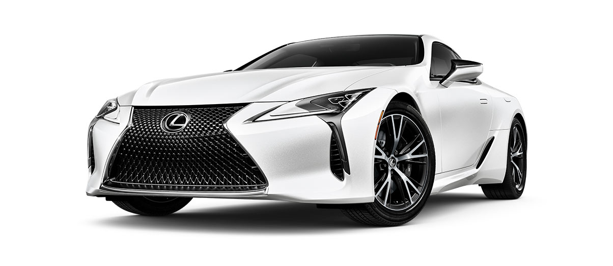 2019 lc 500 in Ultra White with '20-inch split-10-spoke cast alloy Dark Silver wheels<span class='tooltip-trigger disclaimer' data-disclaimers='[{\'code\':\'TIREWEAR4\',\'isTerms\':false,\'body\':\'20-in performance tires are expected to experience greater tire wear than conventional tires. Tire life may be substantially less than mileage expectancy or 15,000 miles, depending upon driving conditions.\'}]'><span class='asterisk'>*</span></span> with machined finish' angle1