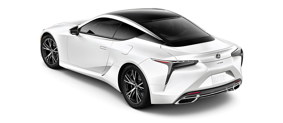 2019 lc 500 in Ultra White with '20-inch split-10-spoke cast alloy Dark Silver wheels<span class='tooltip-trigger disclaimer' data-disclaimers='[{\'code\':\'TIREWEAR4\',\'isTerms\':false,\'body\':\'20-in performance tires are expected to experience greater tire wear than conventional tires. Tire life may be substantially less than mileage expectancy or 15,000 miles, depending upon driving conditions.\'}]'><span class='asterisk'>*</span></span> with machined finish' angle4