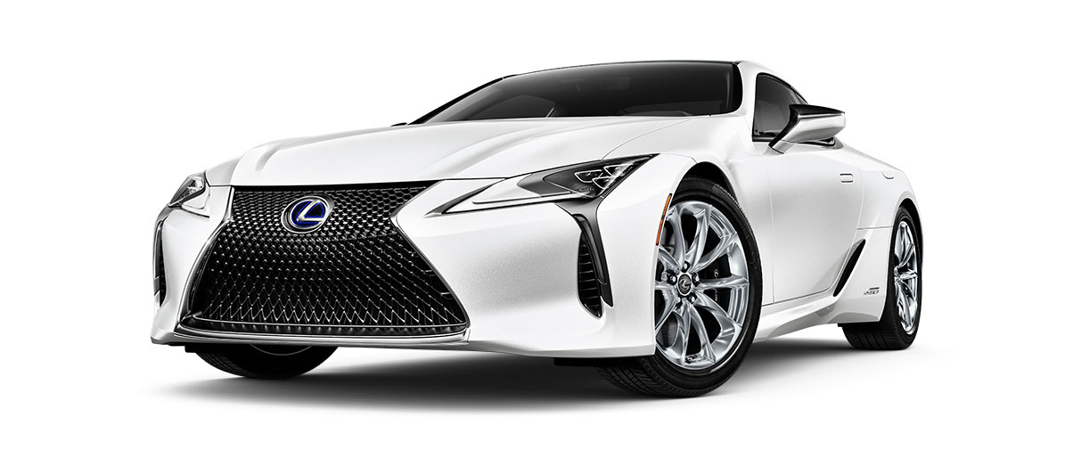 2019 lc 500h in Ultra White with '20-inch 10-spoke forged alloy wheels<span class='tooltip-trigger disclaimer' data-disclaimers='[{\'code\':\'TIREWEAR4\',\'isTerms\':false,\'body\':\'20-in performance tires are expected to experience greater tire wear than conventional tires. Tire life may be substantially less than mileage expectancy or 15,000 miles, depending upon driving conditions.\'}]'><span class='asterisk'>*</span></span> with polished finish' angle1