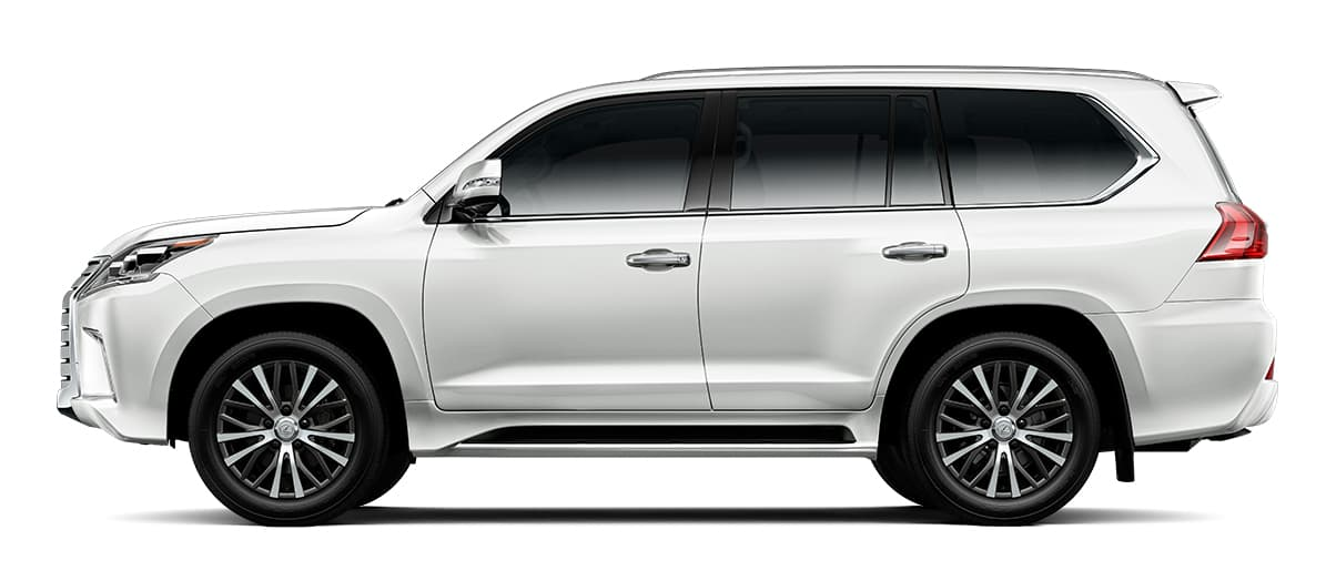 2019 lx 570 THREE-ROW in Eminent White Pearl with '20-in five-spoke alloy wheels<span class='tooltip-trigger disclaimer' data-disclaimers='[{\'code\':\'TIREWEAR4\',\'isTerms\':false,\'body\':\'20-in performance tires are expected to experience greater tire wear than conventional tires. Tire life may be substantially less than mileage expectancy or 15,000 miles, depending upon driving conditions.\'}]'><span class='asterisk'>*</span></span> (Standard)' angle1