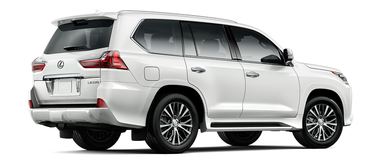 2019 lx 570 THREE-ROW in Eminent White Pearl with '20-in five-spoke alloy wheels<span class='tooltip-trigger disclaimer' data-disclaimers='[{\'code\':\'TIREWEAR4\',\'isTerms\':false,\'body\':\'20-in performance tires are expected to experience greater tire wear than conventional tires. Tire life may be substantially less than mileage expectancy or 15,000 miles, depending upon driving conditions.\'}]'><span class='asterisk'>*</span></span> (Standard)' angle3