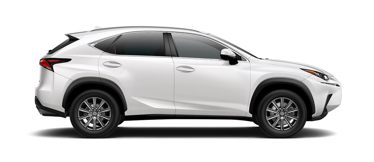 2019 nx 300 in Eminent White Pearl with '17-in 10-spoke alloy wheels<span class='tooltip-trigger disclaimer' data-disclaimers='[{\'code\':\'TIREWEAR1\',\'isTerms\':false,\'body\':\'17-in performance tires are expected to experience greater tire wear than conventional tires. Tire life may be substantially less than mileage expectancy or 15,000 miles, depending upon driving conditions.\'}]'><span class='asterisk'>*</span></span>' angle3