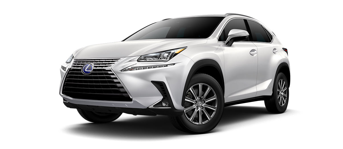 2019 nx 300h in Eminent White Pearl with '17-in 10-spoke alloy wheels<span class='tooltip-trigger disclaimer' data-disclaimers='[{\'code\':\'TIREWEAR1\',\'isTerms\':false,\'body\':\'17-in performance tires are expected to experience greater tire wear than conventional tires. Tire life may be substantially less than mileage expectancy or 15,000 miles, depending upon driving conditions.\'}]'><span class='asterisk'>*</span></span>' angle1