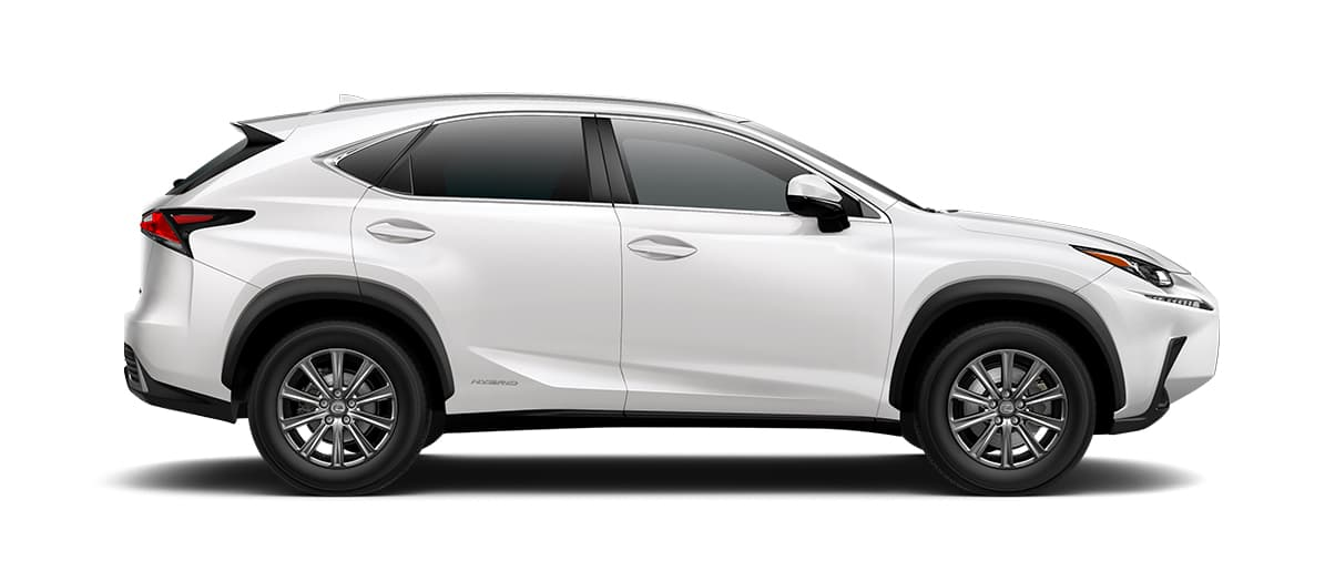 2019 nx 300h in Eminent White Pearl with '17-in 10-spoke alloy wheels<span class='tooltip-trigger disclaimer' data-disclaimers='[{\'code\':\'TIREWEAR1\',\'isTerms\':false,\'body\':\'17-in performance tires are expected to experience greater tire wear than conventional tires. Tire life may be substantially less than mileage expectancy or 15,000 miles, depending upon driving conditions.\'}]'><span class='asterisk'>*</span></span>' angle3