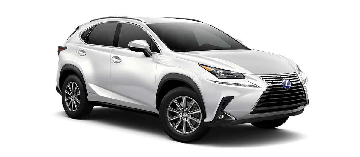 2019 nx 300h in Eminent White Pearl with '17-in 10-spoke alloy wheels<span class='tooltip-trigger disclaimer' data-disclaimers='[{\'code\':\'TIREWEAR1\',\'isTerms\':false,\'body\':\'17-in performance tires are expected to experience greater tire wear than conventional tires. Tire life may be substantially less than mileage expectancy or 15,000 miles, depending upon driving conditions.\'}]'><span class='asterisk'>*</span></span>' angle4