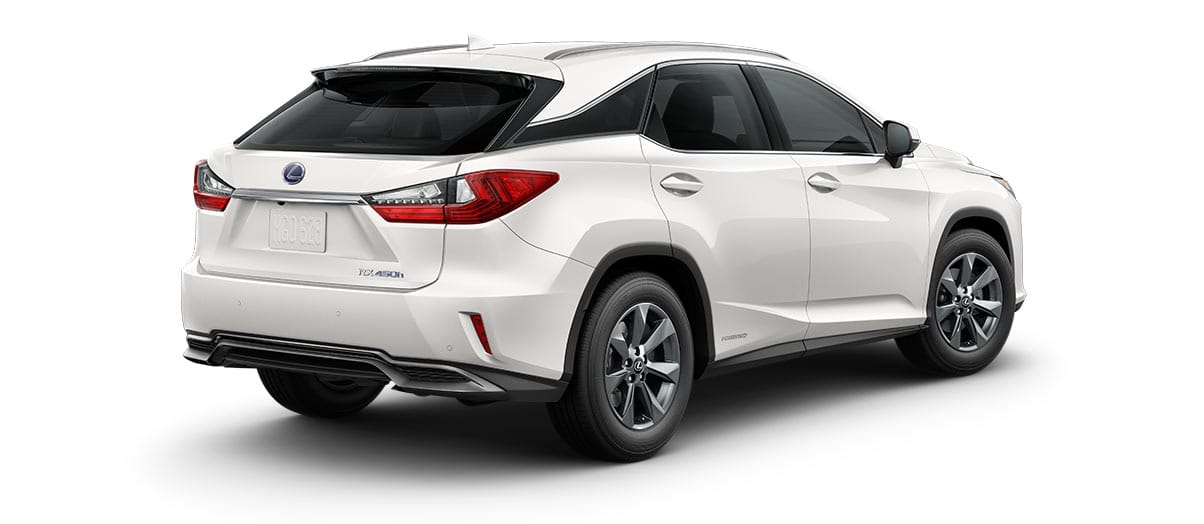2019 rx 450h in Eminent White Pearl with '18-inch seven-spoke alloy wheels<span class='tooltip-trigger disclaimer' data-disclaimers='[{\'code\':\'TIREWEAR2\',\'isTerms\':false,\'body\':\'18-in performance tires are expected to experience greater tire wear than conventional tires. Tire life may be substantially less than mileage expectancy or 15,000 miles, depending upon driving conditions.\'}]'><span class='asterisk'>*</span></span>' angle2