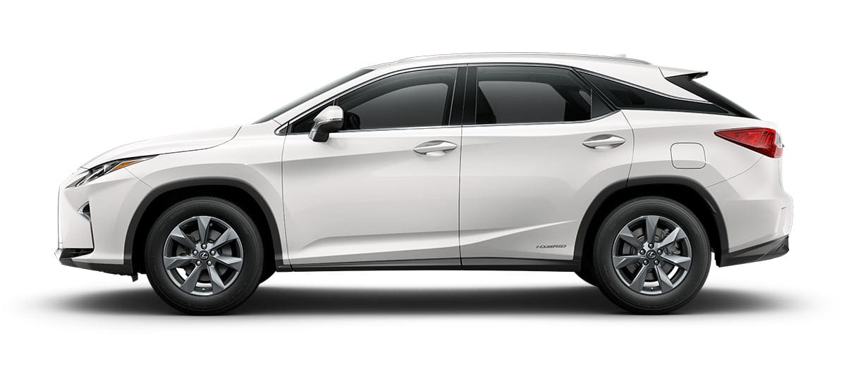 2019 rx 450h in Eminent White Pearl with '18-inch seven-spoke alloy wheels<span class='tooltip-trigger disclaimer' data-disclaimers='[{\'code\':\'TIREWEAR2\',\'isTerms\':false,\'body\':\'18-in performance tires are expected to experience greater tire wear than conventional tires. Tire life may be substantially less than mileage expectancy or 15,000 miles, depending upon driving conditions.\'}]'><span class='asterisk'>*</span></span>' angle5
