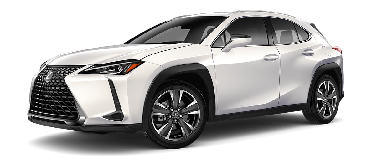 2019 ux 200 in Eminent White Pearl with '18-in five-spoke alloy wheels with Dark Gray and machined finish with run-flat tires<span class='tooltip-trigger disclaimer' data-disclaimers='[{\'code\':\'TIREWEAR2\',\'isTerms\':false,\'body\':\'18-in performance tires are expected to experience greater tire wear than conventional tires. Tire life may be substantially less than mileage expectancy or 15,000 miles, depending upon driving conditions.\'},{\'code\':\'RUNFLAT8\',\'isTerms\':false,\'body\':\'UX 200, UX 250h and F SPORT models come standard with run-flat tires—there is no spare tire.\'}]'><span class='asterisk'>*</span></span>' angle1