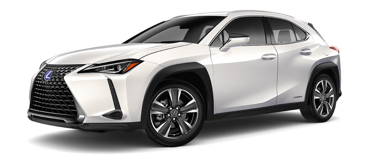 2019 ux 250h in Eminent White Pearl with '18-in five-spoke alloy wheels with Dark Gray and machined finish with run-flat tires<span class='tooltip-trigger disclaimer' data-disclaimers='[{\'code\':\'TIREWEAR2\',\'isTerms\':false,\'body\':\'18-in performance tires are expected to experience greater tire wear than conventional tires. Tire life may be substantially less than mileage expectancy or 15,000 miles, depending upon driving conditions.\'},{\'code\':\'RUNFLAT8\',\'isTerms\':false,\'body\':\'UX 200, UX 250h and F SPORT models come standard with run-flat tires—there is no spare tire.\'}]'><span class='asterisk'>*</span></span>' angle1