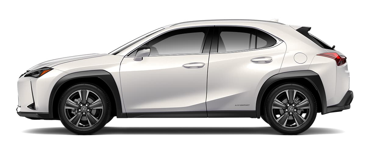 2019 ux 250h in Eminent White Pearl with '18-in five-spoke alloy wheels with Dark Gray and machined finish with run-flat tires<span class='tooltip-trigger disclaimer' data-disclaimers='[{\'code\':\'TIREWEAR2\',\'isTerms\':false,\'body\':\'18-in performance tires are expected to experience greater tire wear than conventional tires. Tire life may be substantially less than mileage expectancy or 15,000 miles, depending upon driving conditions.\'},{\'code\':\'RUNFLAT8\',\'isTerms\':false,\'body\':\'UX 200, UX 250h and F SPORT models come standard with run-flat tires—there is no spare tire.\'}]'><span class='asterisk'>*</span></span>' angle2